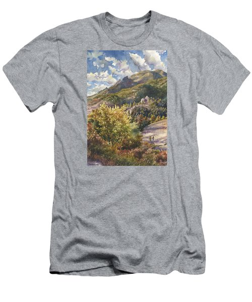 Men's T-Shirt (Slim Fit) featuring the painting Morning Walk At Mount Sanitas by Anne Gifford
