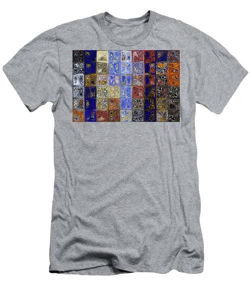 Mosaic Tile Evening Landscape. Modern Mosaic Tile Art Painting Men's T-Shirt (Athletic Fit)