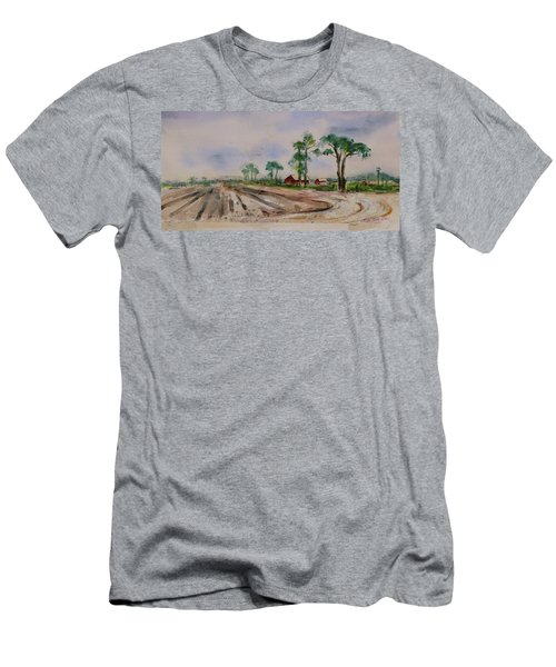 Men's T-Shirt (Athletic Fit) featuring the painting Moss Landing Pine Trees Farm California Landscape 1 by Xueling Zou