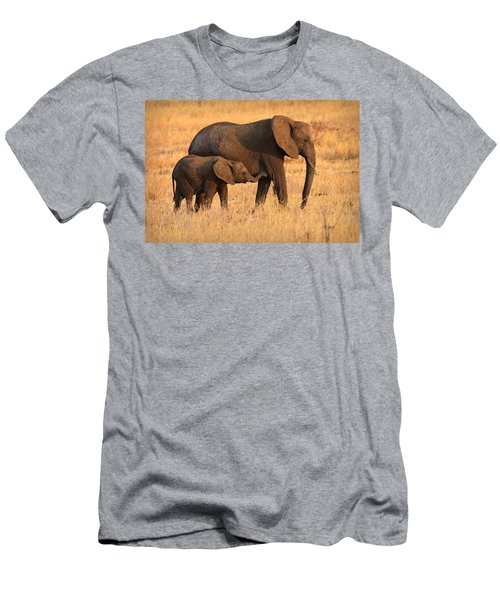 Mother And Baby Elephants Men's T-Shirt (Athletic Fit)