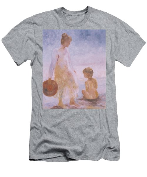 Mother And Baby On The Beach Men's T-Shirt (Athletic Fit)