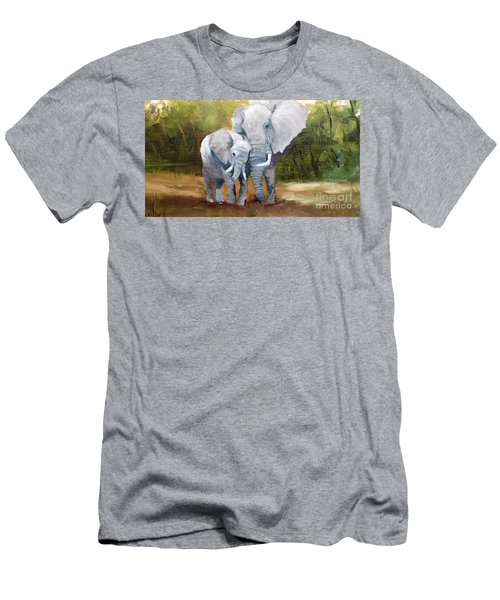 Mother Love Elephants Men's T-Shirt (Slim Fit)