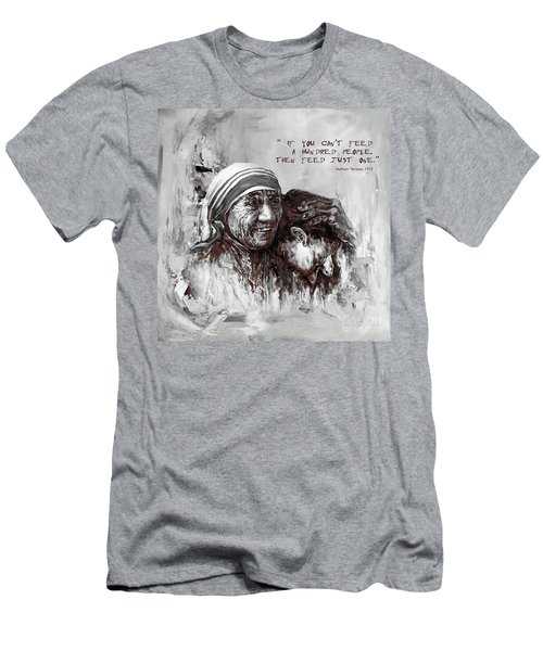 Men's T-Shirt (Slim Fit) featuring the painting Mother Teresa Of Calcutta Portrait  by Gull G