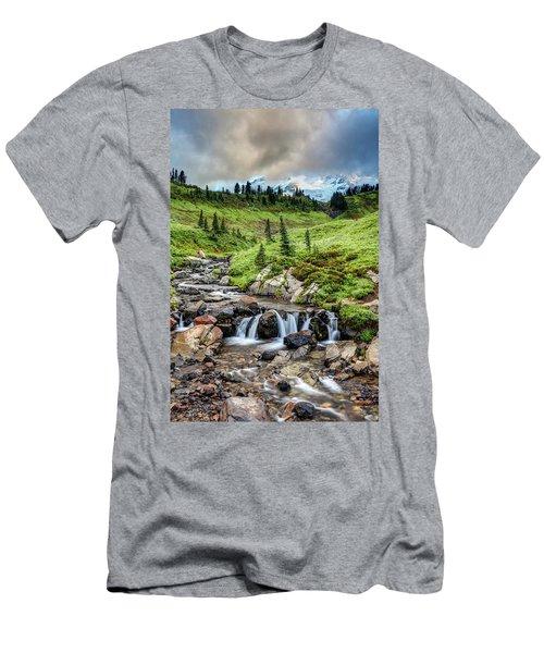 Men's T-Shirt (Athletic Fit) featuring the photograph Mount Rainier's Edith Creek by Pierre Leclerc Photography