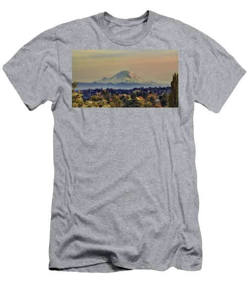 Mt Rainer Fall Color Rising Men's T-Shirt (Athletic Fit)