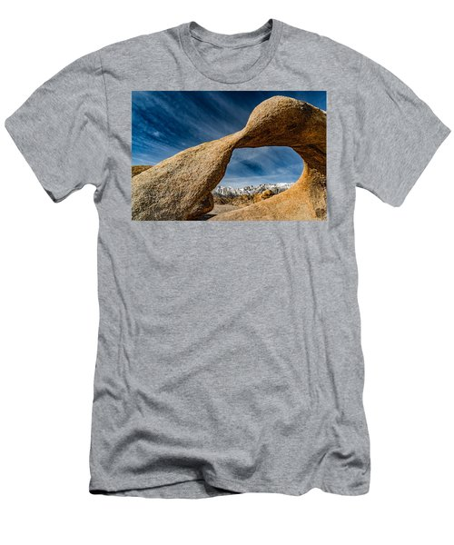 Mt Whitney Through Mobius Arch Men's T-Shirt (Slim Fit) by Janis Knight
