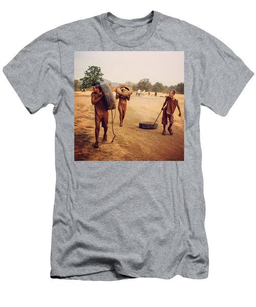 #muddy #mud #mudrun #tires #walking Men's T-Shirt (Athletic Fit)