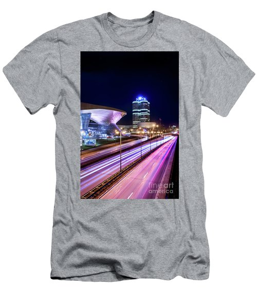 Men's T-Shirt (Slim Fit) featuring the pyrography Munich - Bmw City At Night by Hannes Cmarits