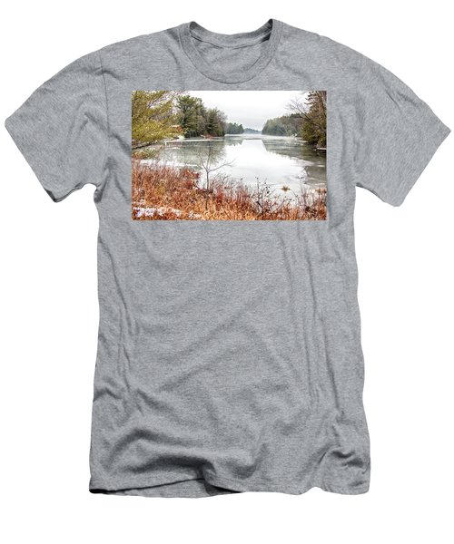 Men's T-Shirt (Athletic Fit) featuring the photograph Muskoka Lakes In December by Tatiana Travelways