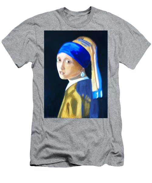 My Version-girl With The Pearl Earring Men's T-Shirt (Slim Fit) by Rod Jellison