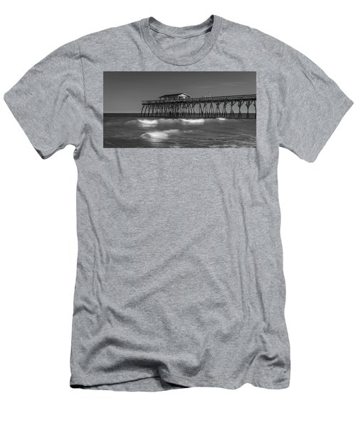 Men's T-Shirt (Athletic Fit) featuring the photograph Myrtle Beach Pier Panorama In Black And White by Ranjay Mitra