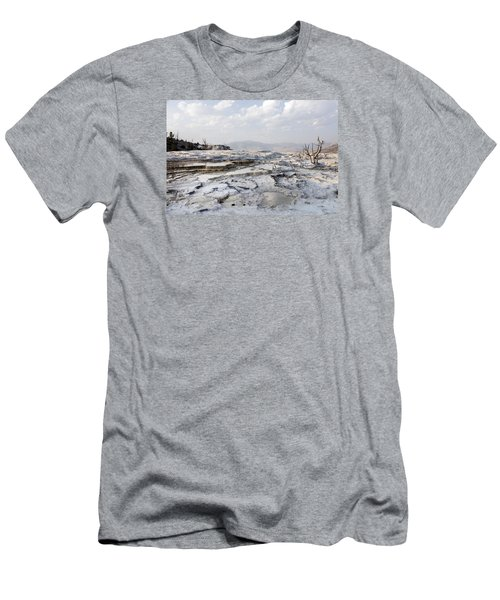 Mystic Scene From The Lower Terrace In Yellowstone National Park Men's T-Shirt (Athletic Fit)