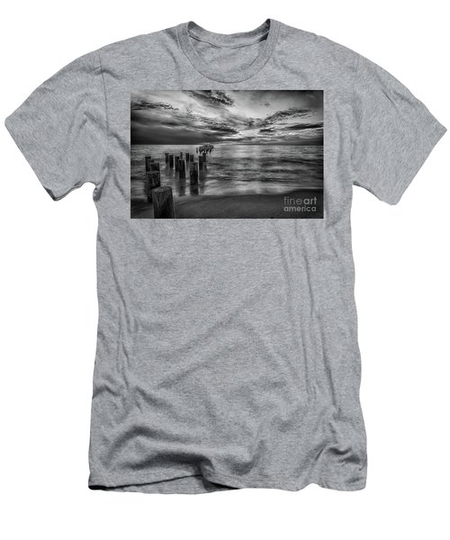 Naples Sunset In Black And White Men's T-Shirt (Athletic Fit)