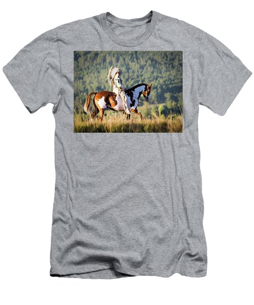 Native American On His Paint Horse Men's T-Shirt (Slim Fit) by Nadja Rider