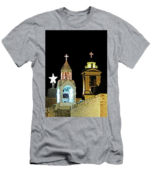Men's T-Shirt (Slim Fit) featuring the photograph Nativity Church Lights by Munir Alawi