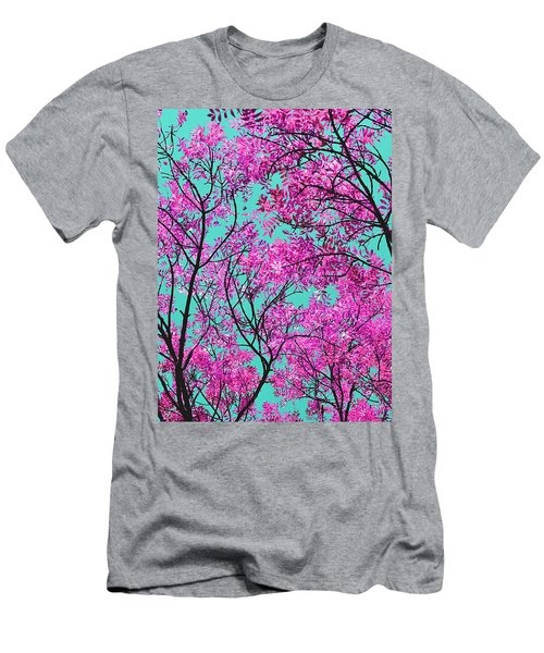 Men's T-Shirt (Slim Fit) featuring the photograph Natures Magic - Pink And Blue by Rebecca Harman