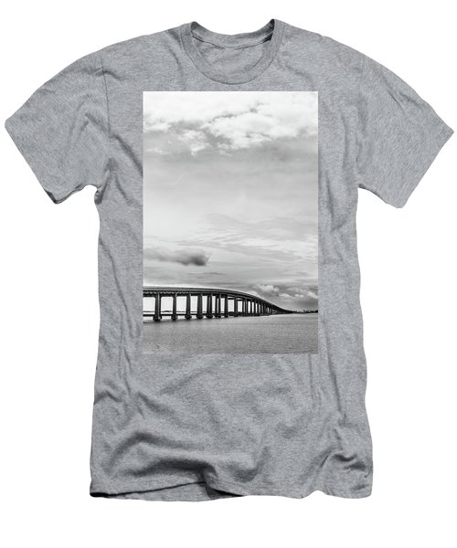 Men's T-Shirt (Slim Fit) featuring the photograph Navarre Bridge Monochrome by Shelby Young