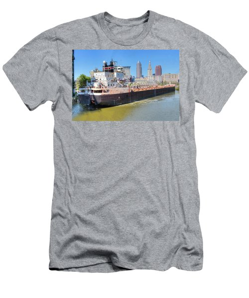 Men's T-Shirt (Slim Fit) featuring the photograph Navigating The Cuyahoga by Brent Durken