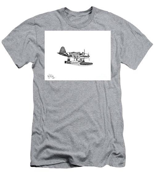 Navy Scout Observation Plane Pen And Ink No  Pi201 Men's T-Shirt (Slim Fit) by Kip DeVore