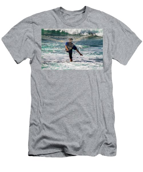 Men's T-Shirt (Slim Fit) featuring the photograph Net Fishing by Roger Mullenhour