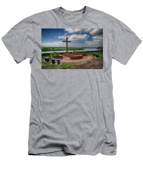 Men's T-Shirt (Slim Fit) featuring the photograph New Garden Cross At Belin Umc by Bill Barber