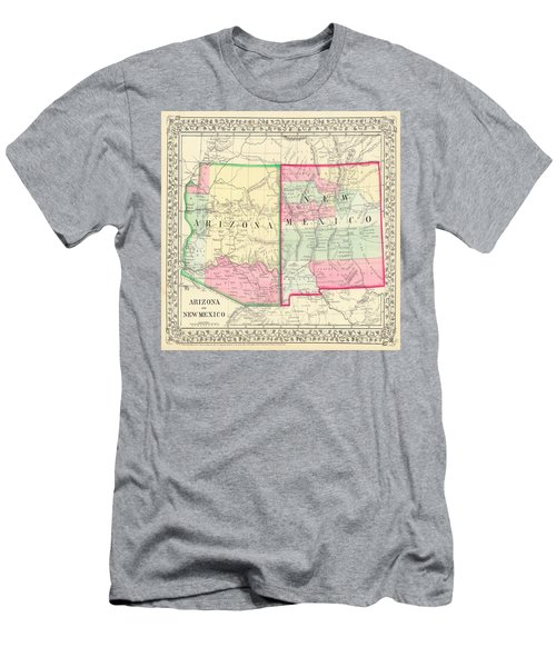 New Mexico And Arizona Map Print From 1867 Men's T-Shirt (Athletic Fit)