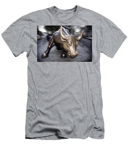Men's T-Shirt (Athletic Fit) featuring the photograph New York Bull Of Wall Street by Juergen Held