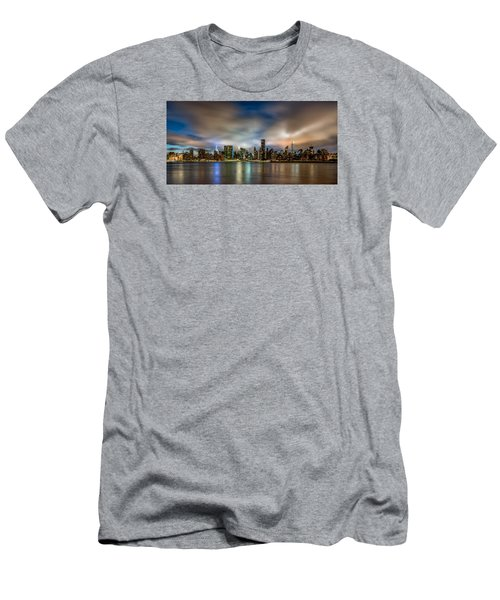 Men's T-Shirt (Slim Fit) featuring the photograph New York City Evening Skyline  by Rafael Quirindongo