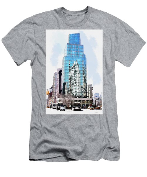 Men's T-Shirt (Slim Fit) featuring the digital art New York In Reflection by Kai Saarto