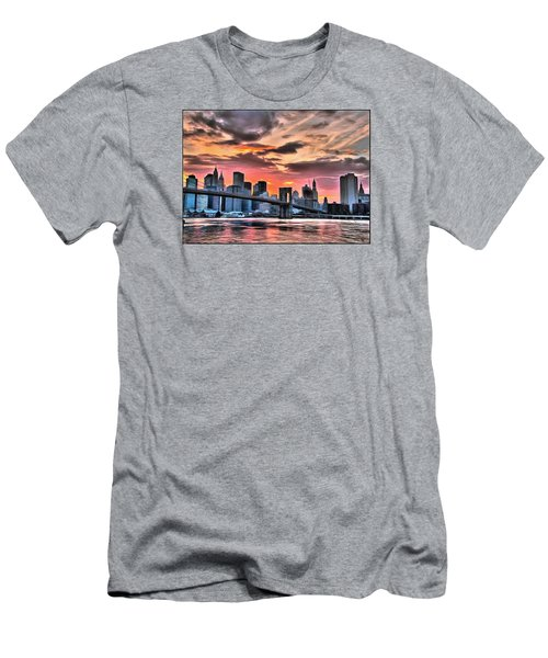 Men's T-Shirt (Slim Fit) featuring the digital art New York Sunset by Charmaine Zoe