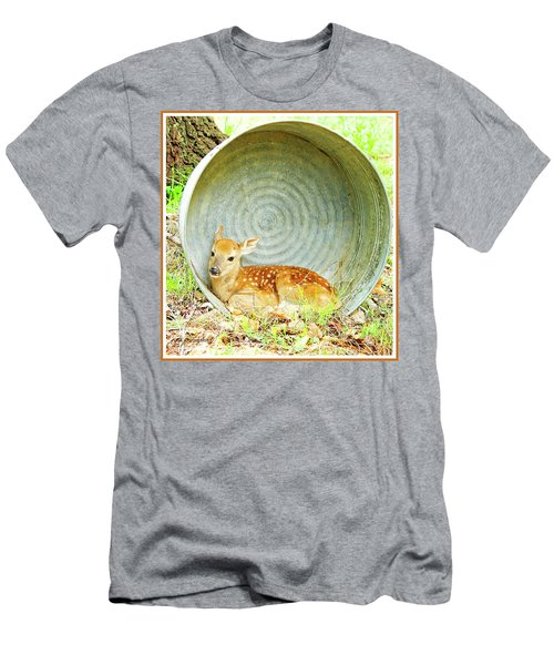 Newborn Fawn Finds Shelter In An Old Washtub Men's T-Shirt (Slim Fit) by A Gurmankin