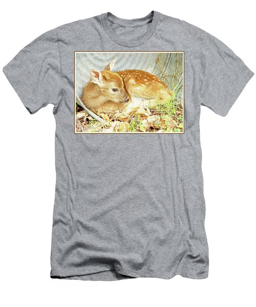 Newborn Fawn Takes Shelter In An Old Washtub Men's T-Shirt (Slim Fit) by A Gurmankin