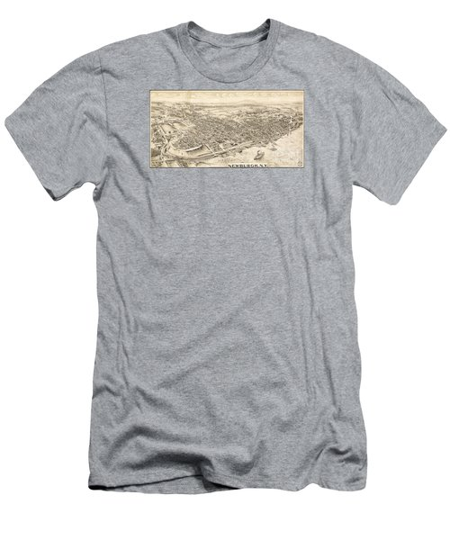Newburgh Ny Birds Eye Drawing Men's T-Shirt (Athletic Fit)