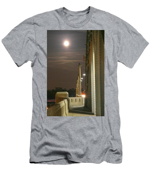 Night Shot Of The Los Angeles 6th Street Bridge And Supermoon #3 Men's T-Shirt (Athletic Fit)