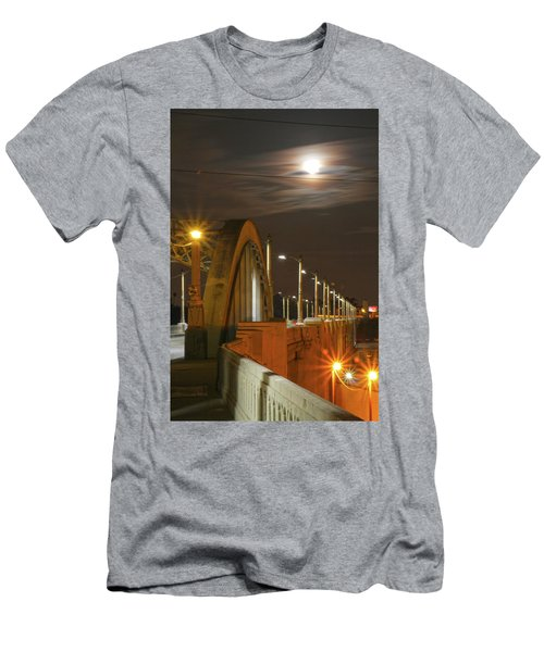 Night Shot Of The Los Angeles 6th Street Bridge And Supermoon #4 Men's T-Shirt (Athletic Fit)