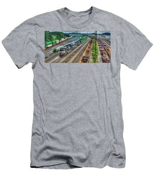 Men's T-Shirt (Athletic Fit) featuring the photograph Norfolk Southern Locomotive #2665 Atlanta Inman Intermodal Yard Art by Reid Callaway