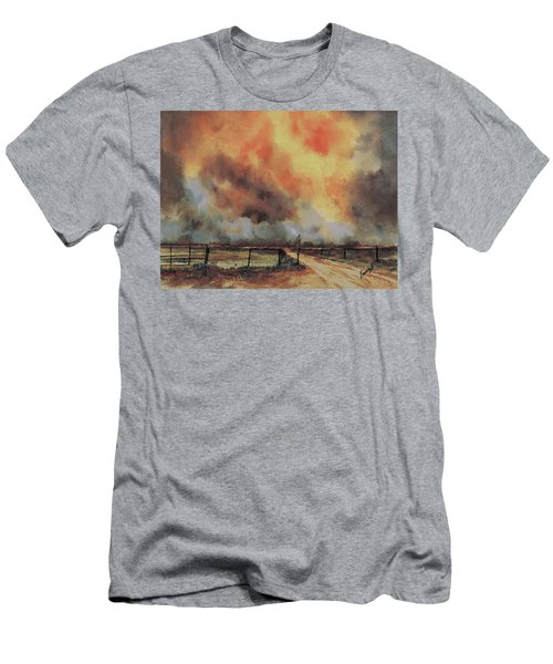 Men's T-Shirt (Athletic Fit) featuring the painting Northwest Oklahoma Wildfire by Sam Sidders
