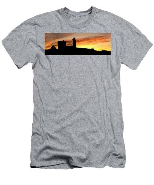 Nubble Lighthouse Silhouette Men's T-Shirt (Athletic Fit)