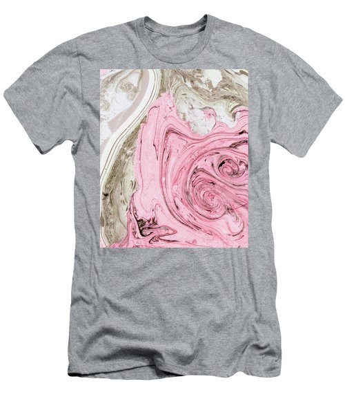Nude And Pink Marbling Art Men's T-Shirt (Slim Fit) by Uma Gokhale