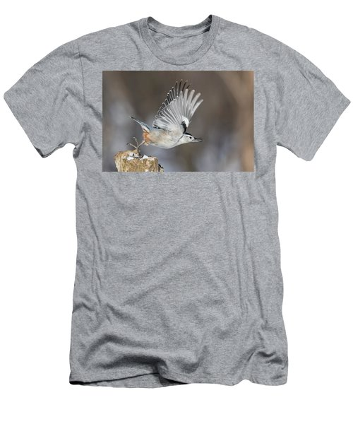Men's T-Shirt (Slim Fit) featuring the photograph Nuthatch In Action by Mircea Costina Photography