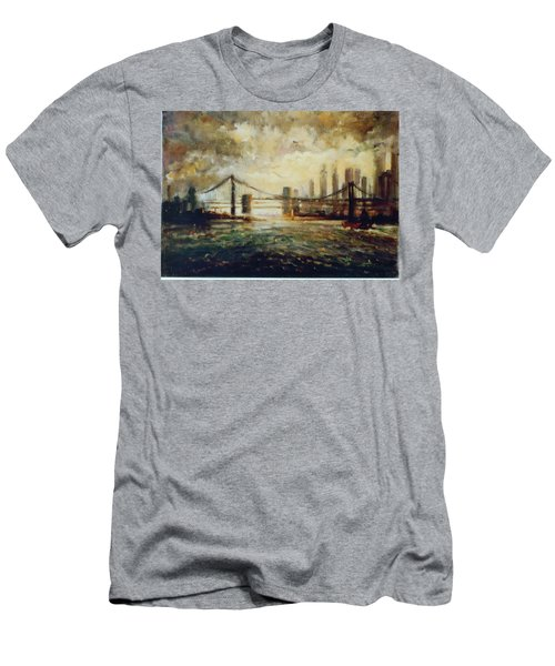 Men's T-Shirt (Slim Fit) featuring the painting Nyc Harbor by Walter Casaravilla