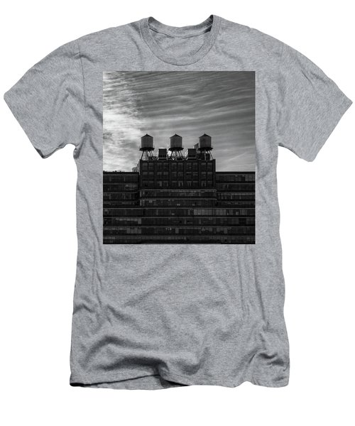 Men's T-Shirt (Athletic Fit) featuring the photograph New York Water Towers by Michael Hope