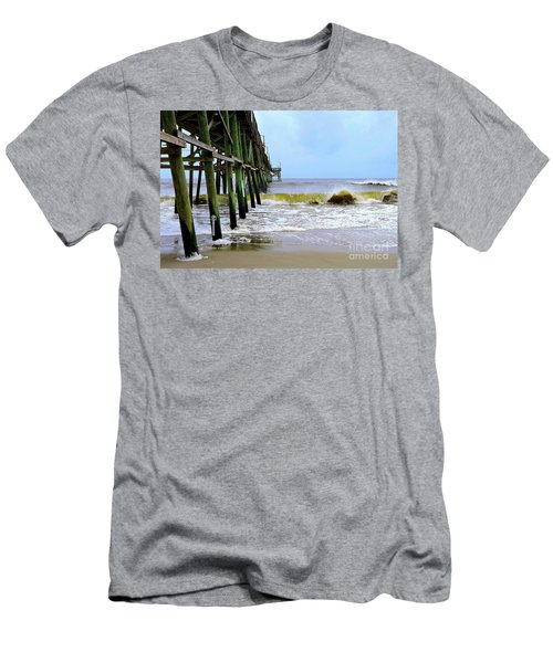 Oak Island Pier Before H.matthew Men's T-Shirt (Slim Fit) by Shelia Kempf