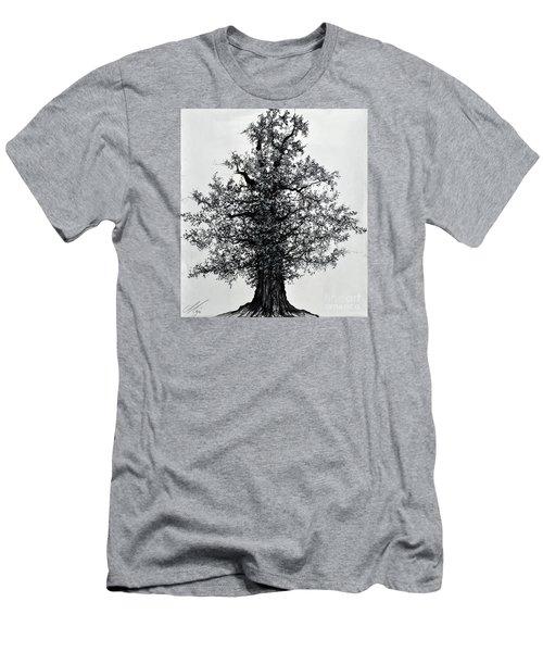Men's T-Shirt (Slim Fit) featuring the drawing Oak Tree by Maja Sokolowska