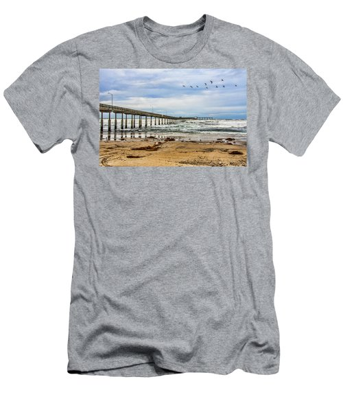 Ocean Beach Pier Fishing Airforce Men's T-Shirt (Athletic Fit)