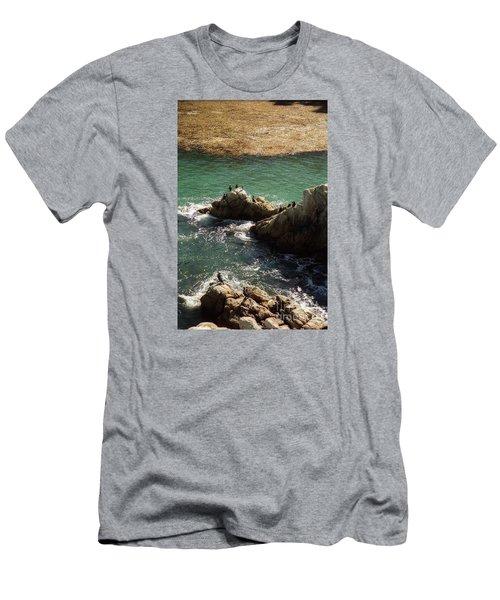 Ocean Rock Near Carmel Men's T-Shirt (Slim Fit) by Ted Pollard