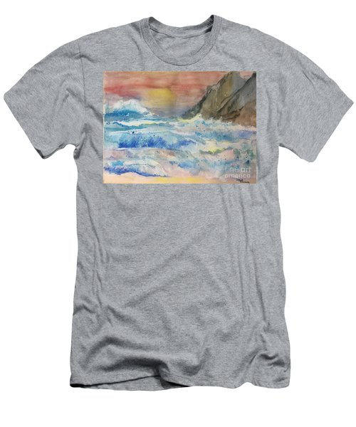 Men's T-Shirt (Athletic Fit) featuring the painting Ocean Waves by Denise Tomasura