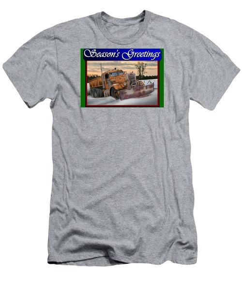 Ol' Pete Snowplow Christmas Card Men's T-Shirt (Slim Fit) by Stuart Swartz