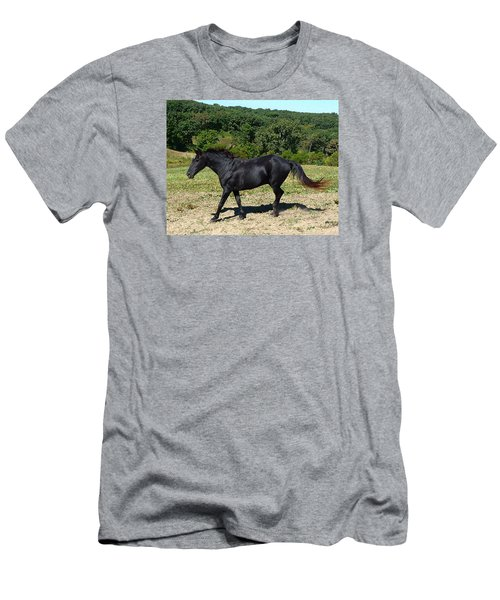 Old Black Horse Running Men's T-Shirt (Slim Fit) by Jana Russon