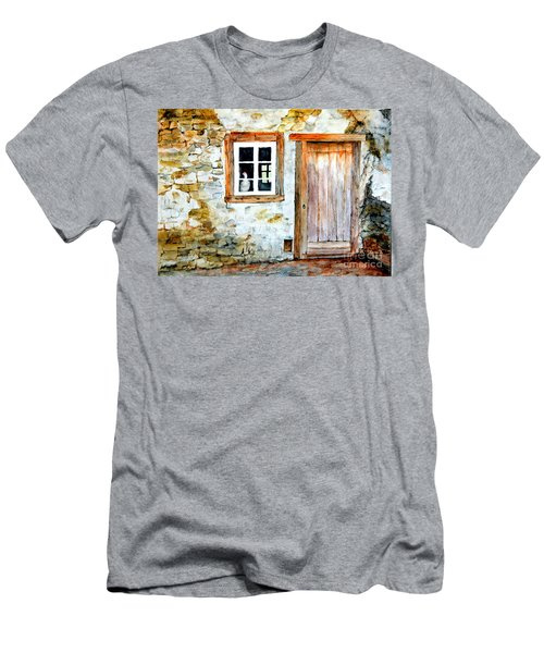 Men's T-Shirt (Slim Fit) featuring the painting Old Farm House by Sher Nasser